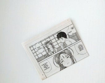 Oh My Goddess belldandy and keiichi - 2 pocket recycled wallet Upcycled Vinyl Card Holder Black and White