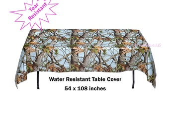 light blue camo table cover, tablecloth, its a buck baby shower, gender reveal, graduation party, Fathers Day, hunting, camping, outdoors
