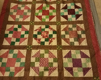 "Scrappy Lap Sized Quilt (62"" x 49""); Brown, Maroon and Green Quilt; Housewarming Gift; Christmas Gift; Housewarming Gift; Quilt"