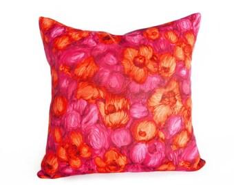 Orange Pink Pillows, Vintage Boho Pillow, Orange Pink Floral Pillow, Unique Pillow Cover, Pink Red Toss Pillow, Zipper, Floral Cushion 16x16