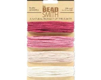 Beadsmith Hemp Cord 4 Ruby Shades 20lb/1.0mm