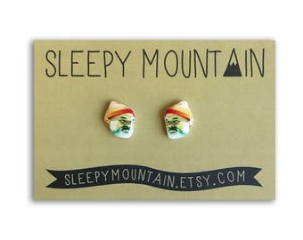 Steve Zissou Stud Earrings - Wes Anderson Bill Murray Earrings