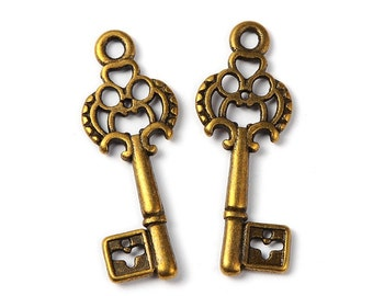 Wholesale Key Charms Key Pendants Bulk Skeleton Keys Steampunk Keys 28mm 100pcs Skeleton Key Charms Antiqued Bronze Keys