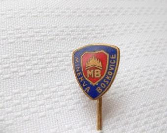 Minerva Boskovice pin, sewing machine pin, sewing machine compant in Czechoslovakia, vintage sewing machine
