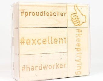 Teacher Hashtag Stamp Set, Teacher Hashtag Stamps, Teacher Stamps, Teacher Stamp Set, Teacher Correction Stamps, 5-pc Set in 3x3 Acetate Box