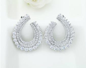 Zircon Earrings | Wedding Bridal Earrings | Crystal Wedding Jewelry | Bridesmaid Earrings | Weddings