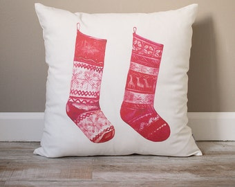 Christmas Stockings Pillow | Christmas Pillow | Holiday Pillow | Christmas Gift | Rustic Home Decor | Holiday Decor | Christmas Decor