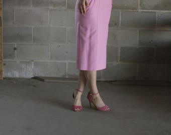 vintage 1970s blush pink pencil skirt / skirt suiting / us 9/10 / m / l