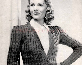 1940's Bestway 425 PDF Knitting Pattern - A Cardigan in a New Ribbed Pattern Modelled by Miss Sally Gray - Vintage Wartime Knitting