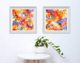 Diptych Printable Art - Set of 2 Abstract Art Prints - Square Abstract Prints - Abstract Expressionist Print - Modern Home Decor - 10x10 8x8
