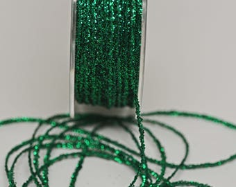 Green Tinsel String -- Thin -- Green Sparkle 10 yards