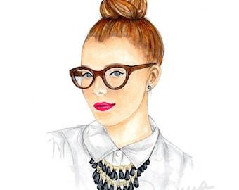 Top Knot Fashion Illustration Art Print / Fashion Illustration Sketch, Fashion Sketch Art, Fashion Art Print, Fashion Wall Art, Beauty Print