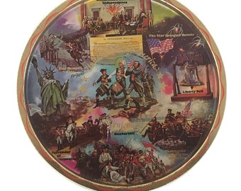 Vintage 1976 Bicentennial Tray Tin Serving Tray American History Landmarks  Wall Decor Round Tin Tray Independence Day 4th of July