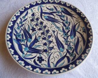 Salad Plate, Turkish ceramic plate, Iznik design plate, small plate, side plate, desert plate, blue and white, birthday present, wall art