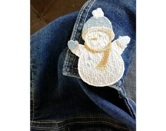 Snowman - Winter - Snow - Embroidered - Seasonal Jewlery Pin Brooch