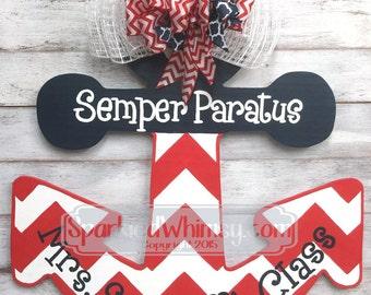 Classroom Decor: Personalized Chevron Anchor Teacher Door Hanger Sign Teacher gift, Classroom decoration, teacher sign (Navy Blue)