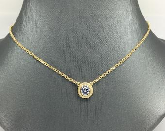 18K Yellow Gold Bezel Set CZ Necklace