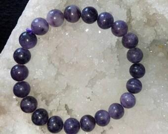 8mm Genuine Amethyst Bracelet, Natural Stone Bracelet, Beaded Elastic Bracelet Healing Meditation Bracelet, Yoga Bracelet, Womens Mens Gift