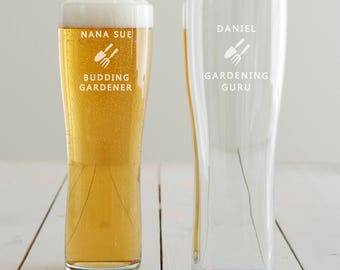 Personalised Gardening Pint Glass