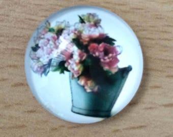 pretty flower bouquet 02 pattern glass cabochon pendant