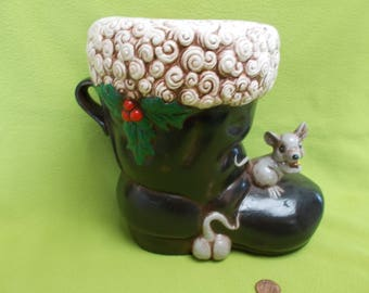 Santa Boot with mice and Holly-painted ceramic bisque