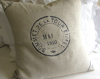 French country EIFFEL Vintage Stamp in navy 20x20 22x22 24x24 26x26 grain sack style Pillow Cover