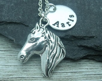 Horse head hand stamped necklace, horse jewellery, horse necklace, horse gift, horse pendant, personalised horse gift, equestrian necklace