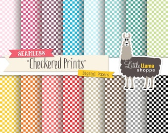 SALE: Checkered Digital Papers, Checked Prints Digital Scrapbook Paper, Checkerboard Patterns, Instant Download, Seamless