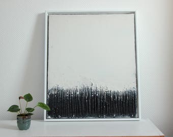 Abstract art, acrylic painting, 50 cm x 60 cm, black and white