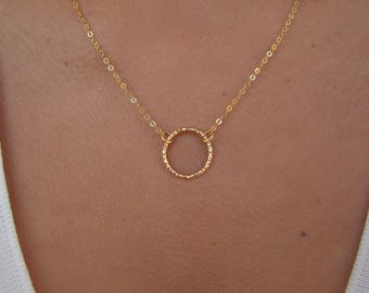 Gold Circle Necklace, Dainty Gold Necklace, Karma Necklace, Simple Circle Necklace, Thin Gold Chain, Ring Necklace, Perfect Everyday Wear