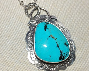 Turquoise Handstamped Sterling Silver Pendant and Chain