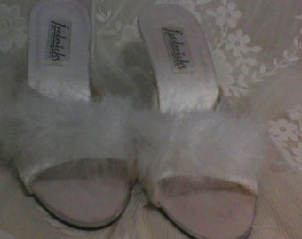 Frederick's of Hollywood Satin and Feather Slippers
