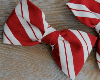 Red and Cream Christmas Stripe Bow Tie - clip on, pre-tied adjustable strap or self tying