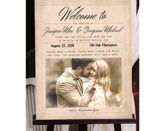 Vintage Wedding Welcome Sign, Customized with Your Wedding Details! (Printable)