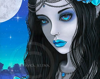 Gothic Fairy Moon Lotus Nalin Myka Fairy 8x10 Signed PRINT