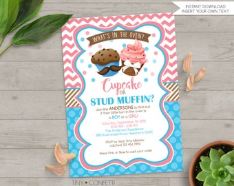 cupcake or stud muffin invitation, cupcake or stud muffin gender reveal invitation, bun in the oven gender reveal, baby shower, pink or blue