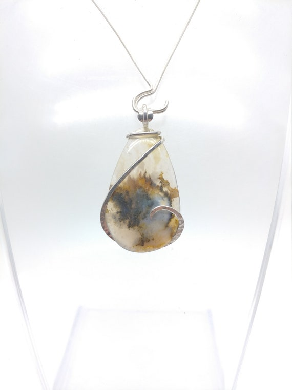Plume Agate Necklace | Graveyard Point Plume Agate Pendant | Sterling Silver | Rare Stone Pendant | Included Agate Pendant | Rustic Pendant