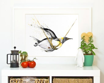 """PENGUIN """"Fly little penguin, fly!"""" *Limited Edition Giclée Print on Watercolour Paper - 300gsm."""