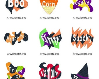 Halloween-Words ( 9 Machine Embroidery Designs from ATW ) XYZ17B