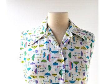 Umbrella Print Blouse   Sleeveless Blouse   1970s Top   Medium M