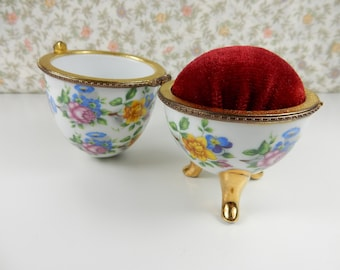 Vintage Floral Egg, Fine Porcelain, Gold Gilded Egg, Hinged Trinket, Jewellery Box, Pin Cushion