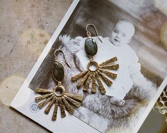 Brass sunburst and faceted labradorite dangle earrings · hammered brass earrings · brass gemstone earrings · quartz earrings