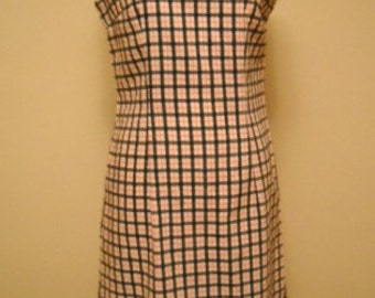 Vintage Shifty Sally Black Orange and White Vintage Plaid Shift Dress with Bling