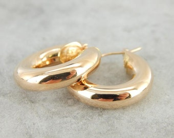Rose Gold Bright Polish And Light Weight Hoop Earrings NZXCTM-P