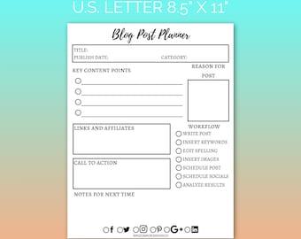 Blog Post Planner Printable | Blog Planner, Blogging, Blog Organizer, Printable Planner, Planner Inserts | PDF | Instant Download
