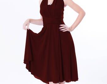Bordo bridesmaid dress with chiffon skirt