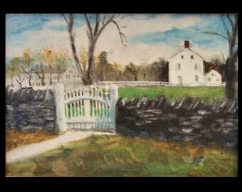 Shaker Village, Pleasant Hill, KY, Original Miniature Oil Painting , Miniature, Framed or Unframed
