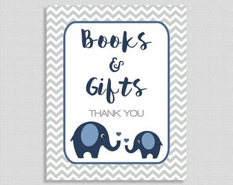 Books and Gifts Baby Shower Table Sign, Navy Elephant Gift Table Sign, Grey Chevron,  Baby Boy, INSTANT PRINTABLE