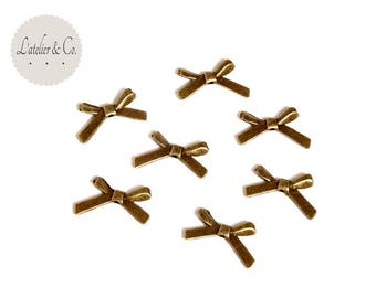 20 beads 20x11mm [BR27] bronze metal ribbon bow