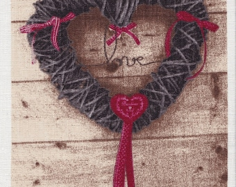 APPLIQUE HEART 8 BLACK LINEN